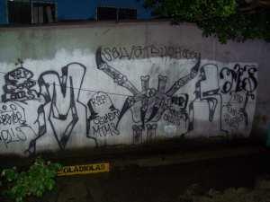 Salvatrucha: Emblem einer der größten Jugendbanden El Salvadors. Foto: Tomás Imholz