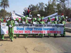 Senegalesische Bäuerinnen demonstrieren für das Recht auf eigenes Saatgut