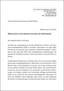 Offener Brief an die Fraktionen des Rates der Stadt Münster_22 Oktober 2017